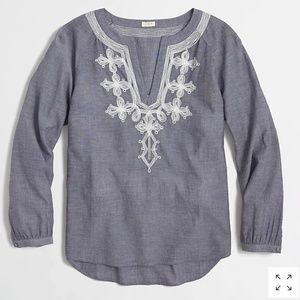 J. Crew Factory Embroidered Chambray Tunic Top
